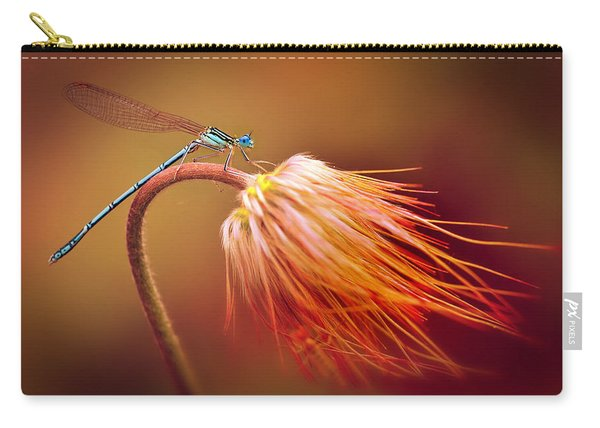Carry-all Pouch featuring the photograph Blue Dragonfly On A Dry Flower by Jaroslaw Blaminsky