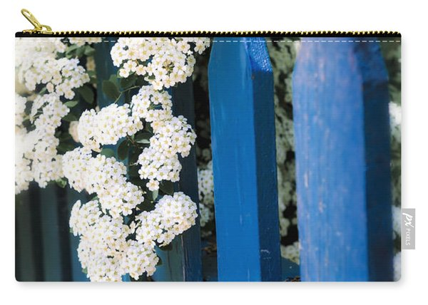 Blue Garden Fence With White Flowers Carry-all Pouch