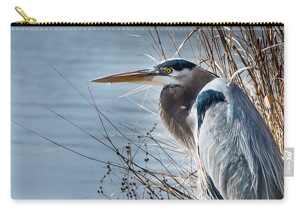 Blue Heron At Pond Carry-all Pouch