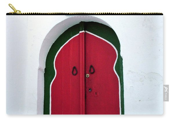 Blue Lantern Over Red Door Carry-all Pouch