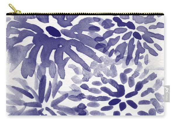 Blue Mums- Watercolor Floral Art Carry-all Pouch