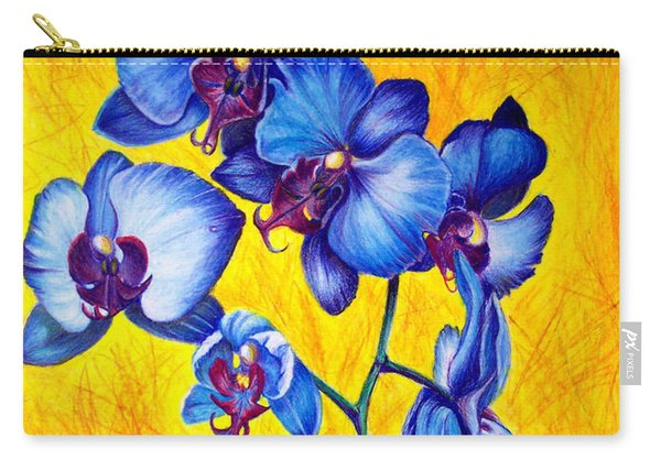 Carry-all Pouch featuring the painting Blue Orchids 1 by Nancy Cupp