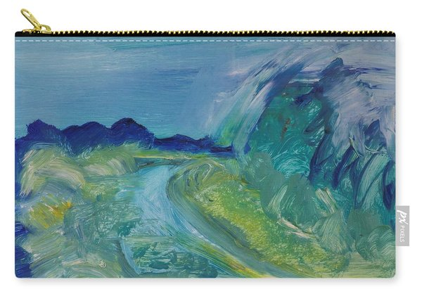 Blue River Landscape I, 1988 Oil On Canvas Carry-all Pouch