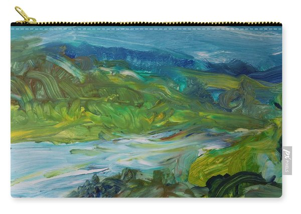 Blue River Landscape II, 1988 Oil On Canvas Carry-all Pouch