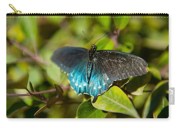 Blue Tinted Butterfly On A Leaf Carry-all Pouch