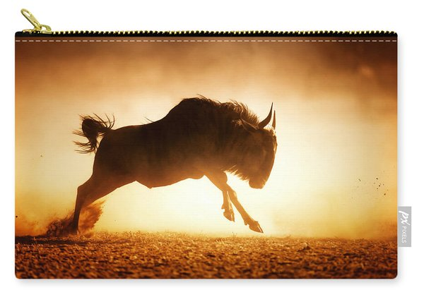 Blue Wildebeest Running In Dust Carry-all Pouch