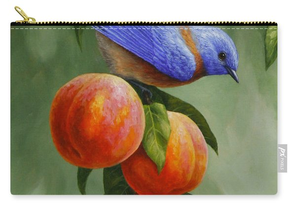 Bluebird And Peaches Greeting Card 1 Carry-all Pouch