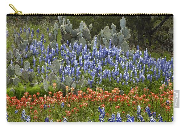 Bluebonnets Paintbrush And Prickly Pear Carry-all Pouch
