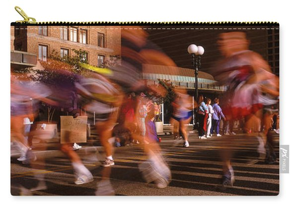 Blurred Motion Of Marathon Runners Carry-all Pouch