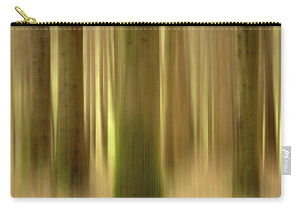 Blurred Trunks In A Forest Carry-all Pouch