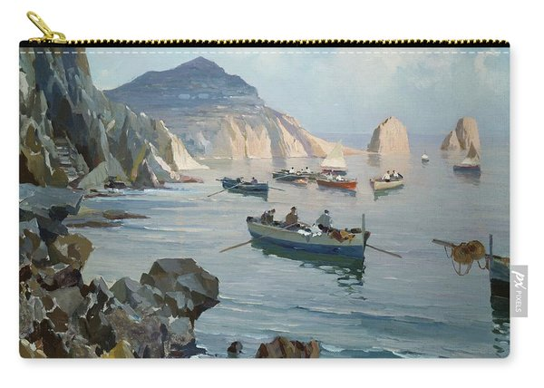 Boats In A Rocky Cove  Carry-all Pouch