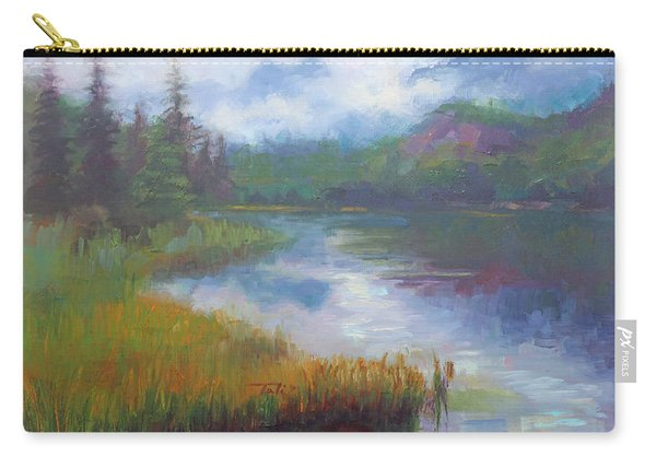 Carry-all Pouch featuring the painting Bonnie Lake - Alaska Misty Landscape by Talya Johnson