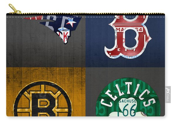 Boston Sports Fan Recycled Vintage Massachusetts License Plate Art Patriots Red Sox Bruins Celtics Carry-all Pouch