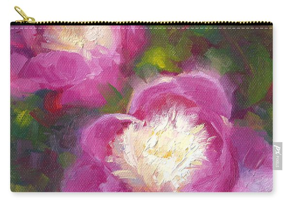 Carry-all Pouch featuring the painting Bowls Of Beauty - Alaskan Peonies by Talya Johnson