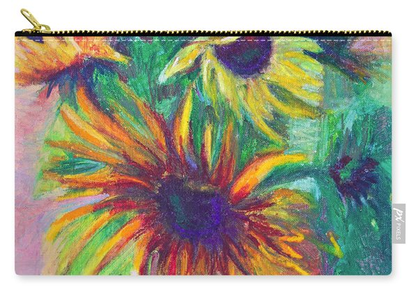 Carry-all Pouch featuring the painting Brandy's Sunflowers - Still Life On Windowsill by Talya Johnson