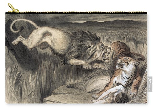 British Lion Attacks Indian Bengal Tiger  1870 Carry-all Pouch