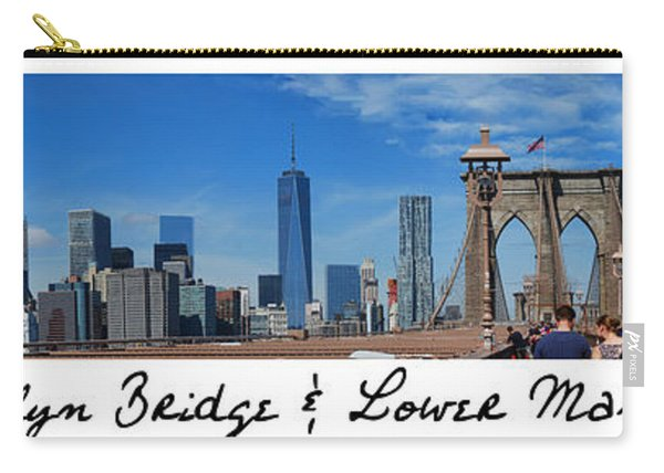 Brooklyn Bridge And Lower Manhattan Script Carry-all Pouch