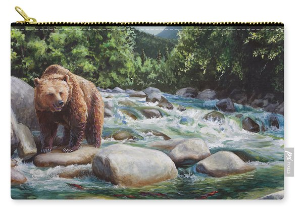 Brown Bear And Salmon On The River - Alaskan Wildlife Landscape Carry-all Pouch