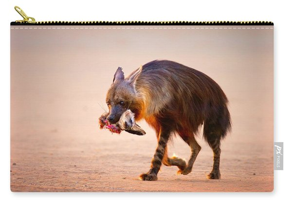 Brown Hyena With Bat-eared Fox In Jaws Carry-all Pouch