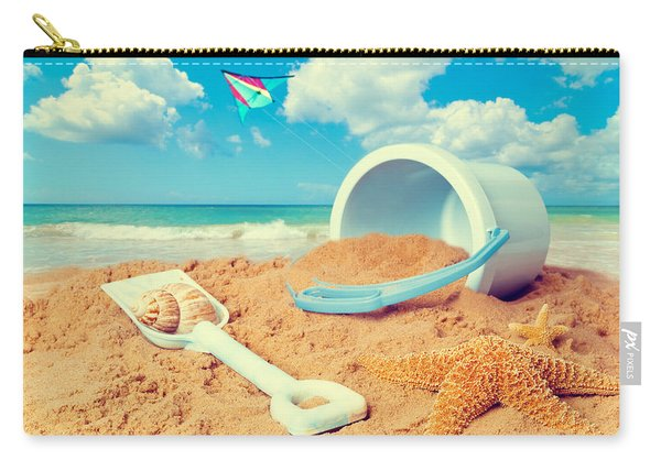 Bucket And Spade On Beach Carry-all Pouch