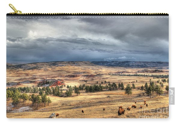Carry-all Pouch featuring the photograph Buffalo Before The Storm by Bill Gabbert