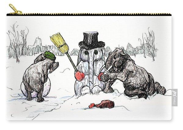 Building A Snow Elephant Carry-all Pouch