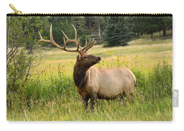Bull Elk In Wildflowers Carry-all Pouch