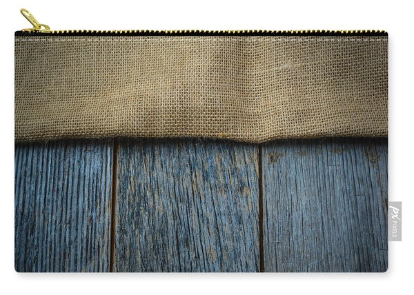 Burlap Texture On Wooden Table Background Carry-all Pouch