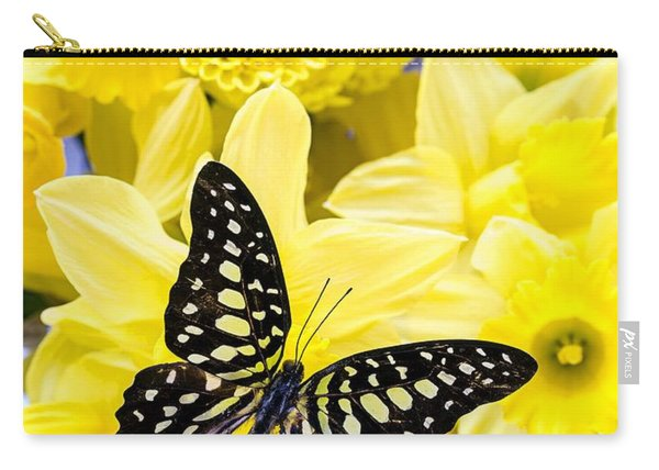 Butterfly Among The Daffodils Carry-all Pouch