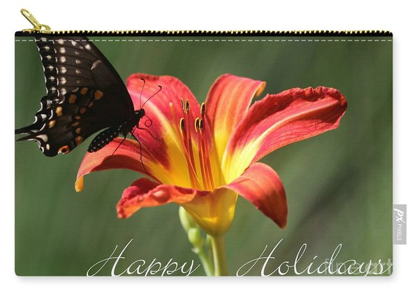 Butterfly And Lily Holiday Card Carry-all Pouch