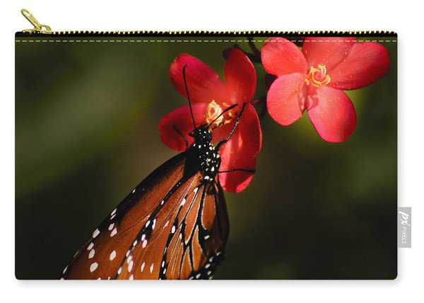 Butterfly On Red Blossom Carry-all Pouch