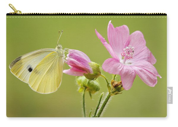 Cabbage White Butterfly On Flower Carry-all Pouch