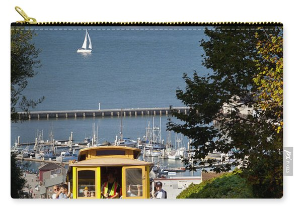 Carry-all Pouch featuring the photograph San Francisco Cable Car On Hyde Street Print By Brian Jannsen Photography by Brian Jannsen