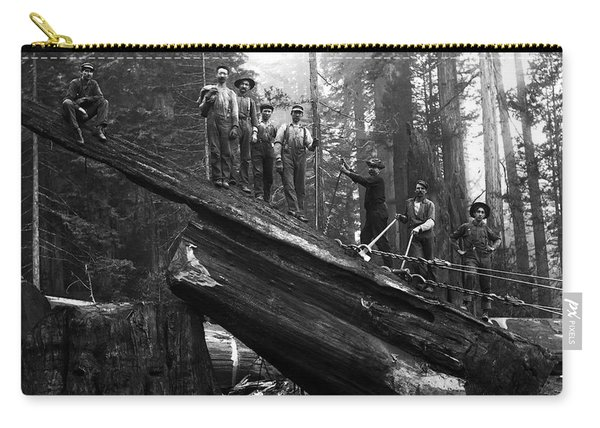 Cabling A Redwood Log C. 1890 Carry-all Pouch