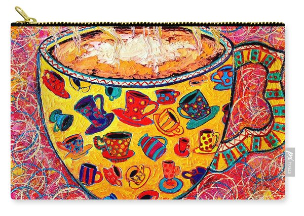 Cafe Latte - Coffee Cup With Colorful Coffee Cups Some Pink And Bubbles  Carry-all Pouch