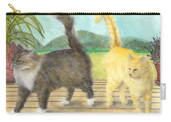 Calico And Orange Tabby Cats Cathy Peek Animal Pets Art Carry-all Pouch