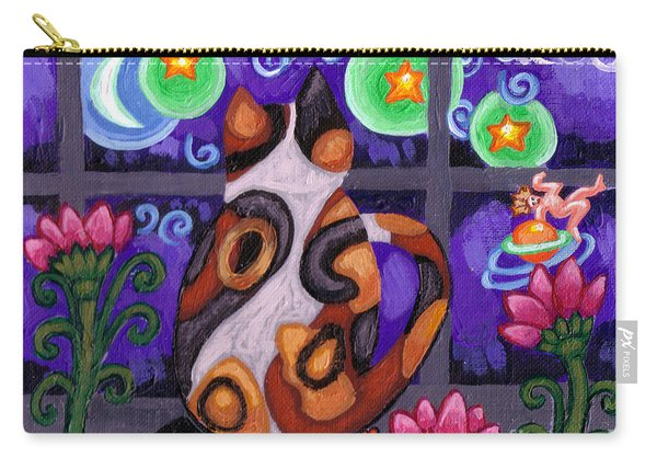 Calico Cat In Moonlight Carry-all Pouch
