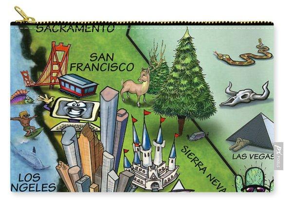 California Cartoon Map Carry-all Pouch