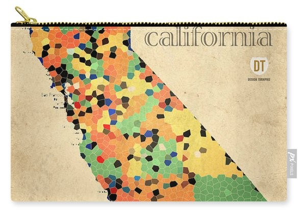 California Map Crystalized Counties On Worn Canvas By Design Turnpike Carry-all Pouch
