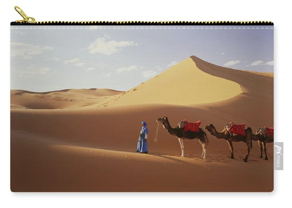 Camels In Desert Morocco Africa Carry-all Pouch