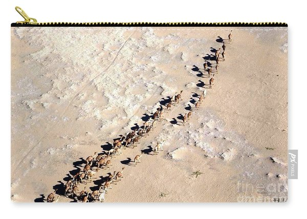 Camels Walking In Desert Carry-all Pouch