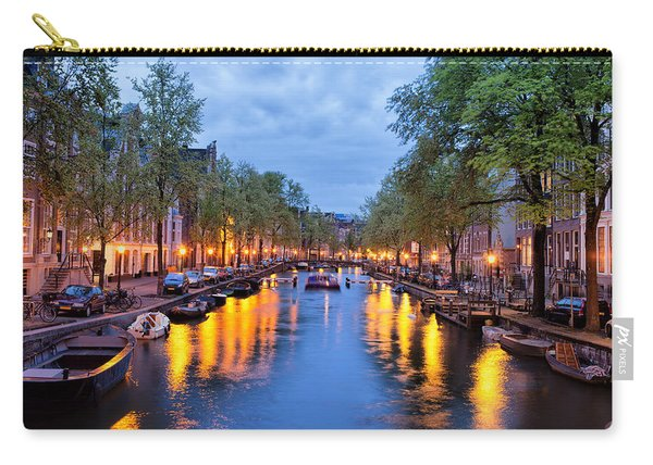 Canal In Amsterdam At Dusk Carry-all Pouch