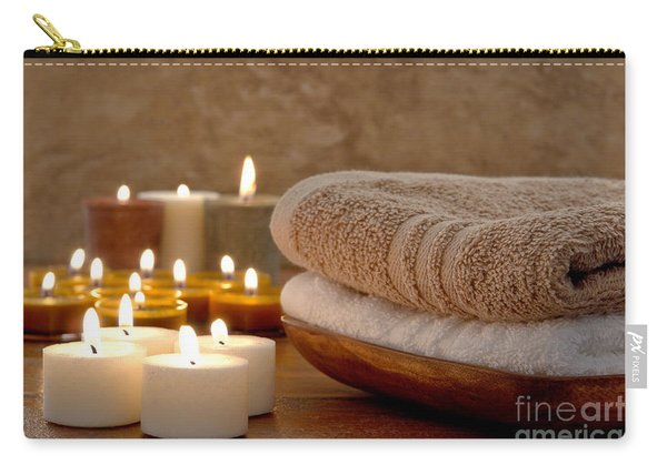 Candles And Towels In A Spa Carry-all Pouch