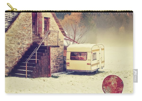 Caravan In The Snow With House And Wood Carry-all Pouch