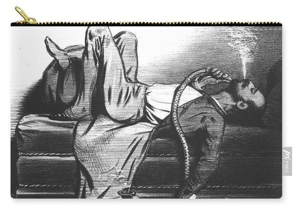 Caricature Of The Romantic Writer Searching His Inspiration In The Hashish Carry-all Pouch