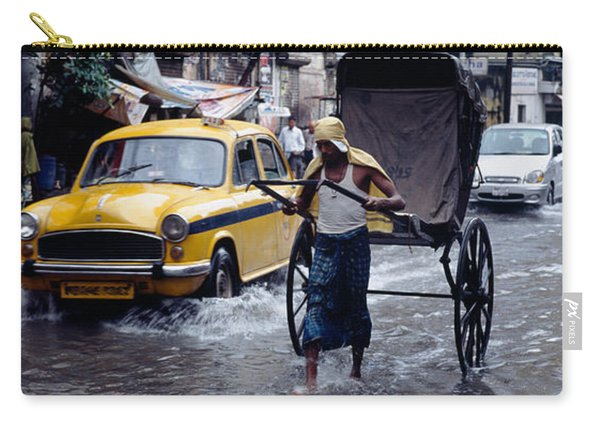 Cars And A Rickshaw On The Street Carry-all Pouch