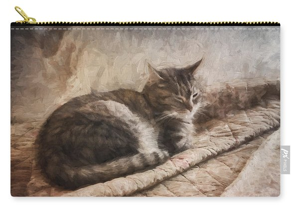 Cat On The Bed Painterly Carry-all Pouch