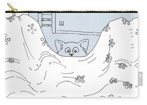 Cat Wants To Get In Bed Cartoon Carry-all Pouch
