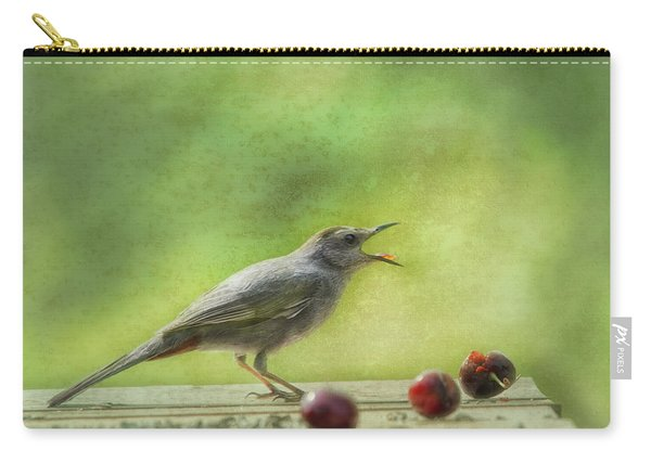 Catbird Eating Cherries Carry-all Pouch