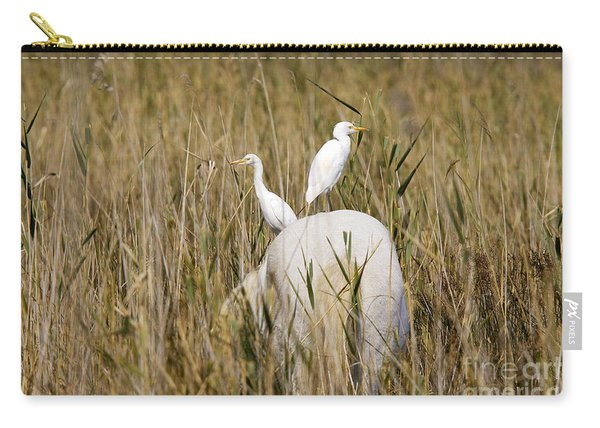 Cattle Egret On Camargue Horse Carry-all Pouch